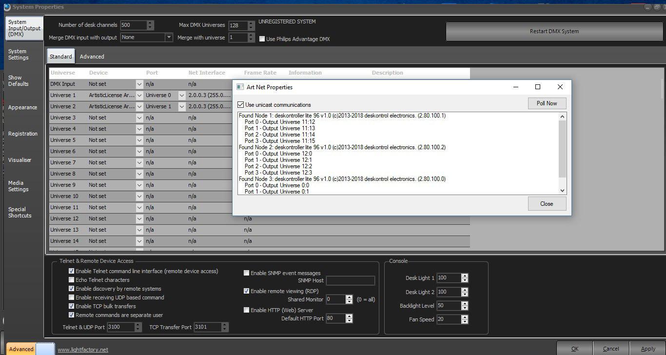 deskontroller LITE and LightFactory led software.