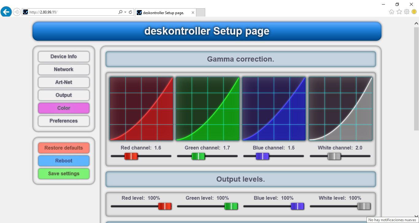 deskontroller-32 setup page color.