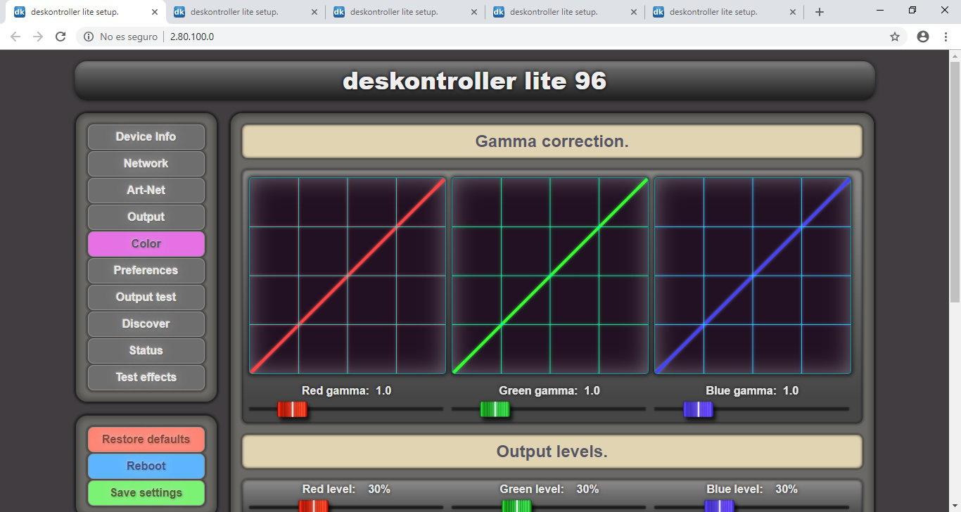 deskontroller LITE setup page Color.